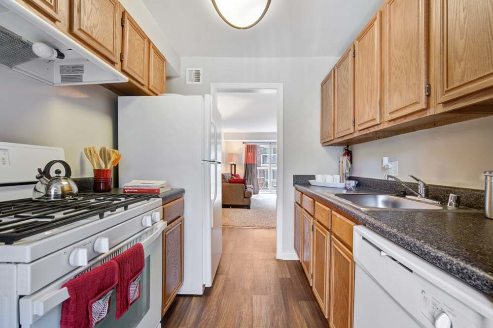 The kitchen layout at Westchester West Silver Spring, MD