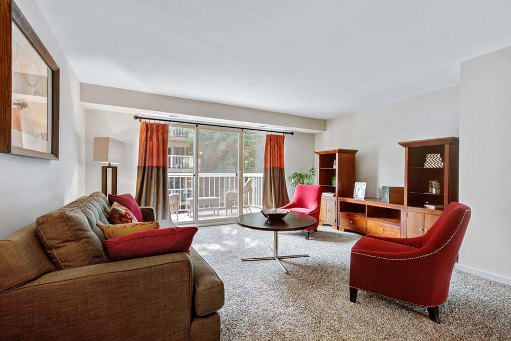 A cozy living room at Westchester West Silver Spring, MD