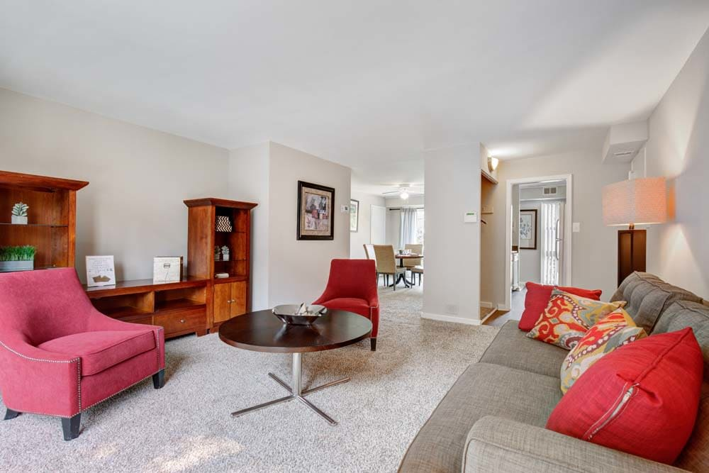 The living room layout at Westchester West Silver Spring, MD