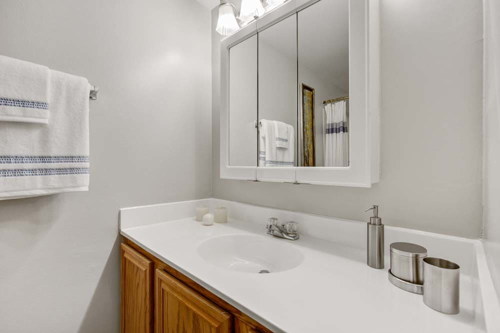 Clean bathroom counters at Westchester West Silver Spring, MD