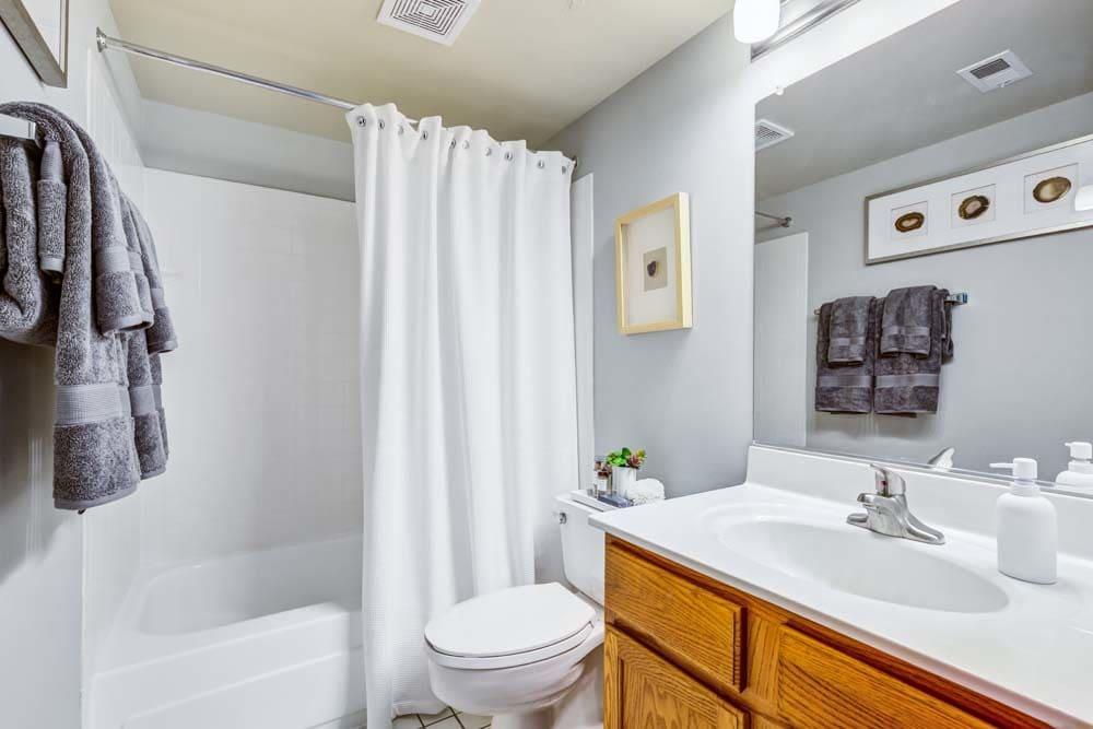 A clean, bright bathroom at Howard Crossing in Ellicott City, Maryland