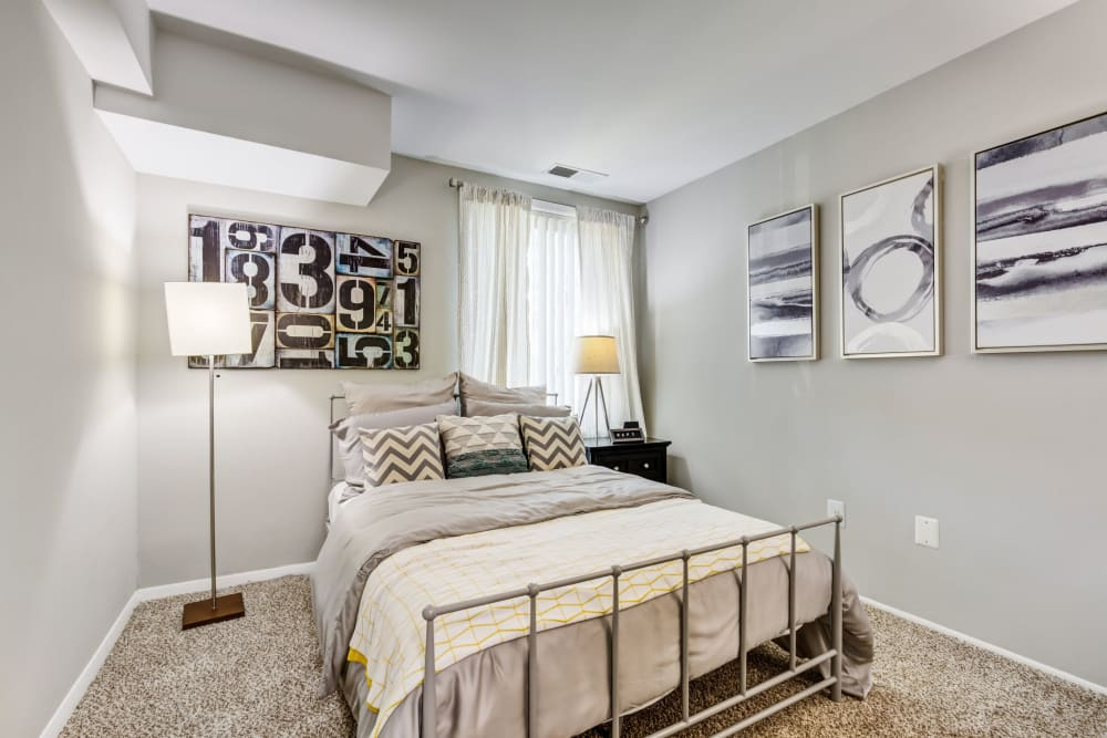 Model bedroom at Cinnamon Run at Peppertree Farm in Silver Spring, Maryland