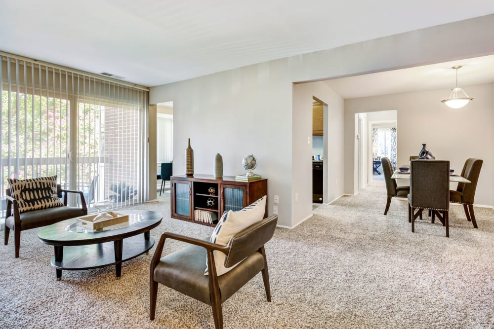 Model family room at Cinnamon Run at Peppertree Farm in Silver Spring, Maryland