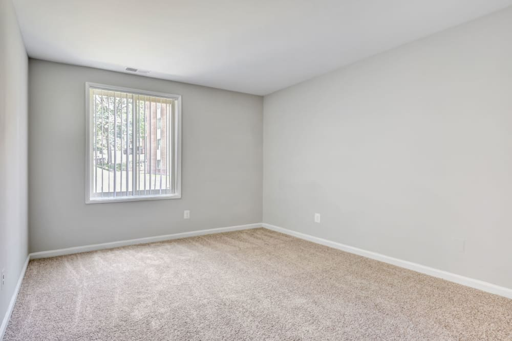 Empty model bedroom at Cinnamon Run at Peppertree Farm in Silver Spring, Maryland