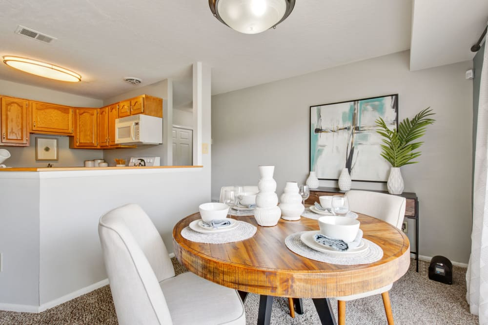 Dining nook in open concept layout at Country Village Apartments in Bel Air, Maryland