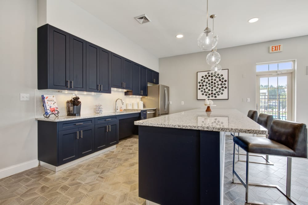 Clubhouse kitchen at Country Village Apartments in Bel Air, Maryland