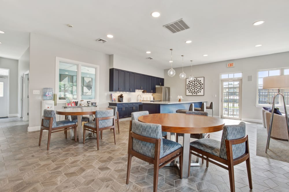 Clubhouse lounge and kitchen at Country Village Apartments in Bel Air, Maryland