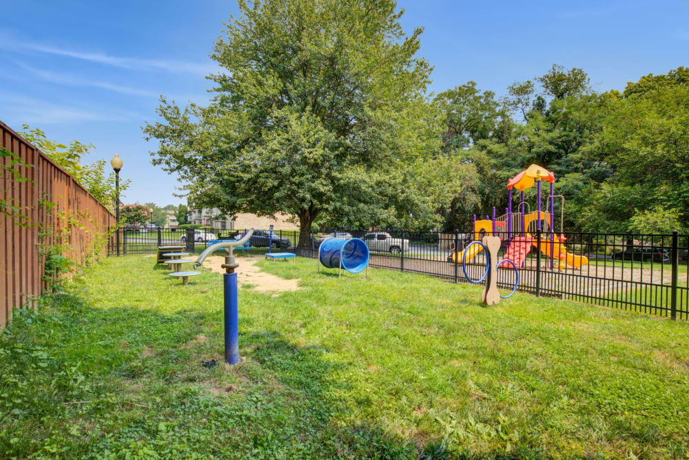 Dog park on site at Country Village Apartments in Bel Air, Maryland