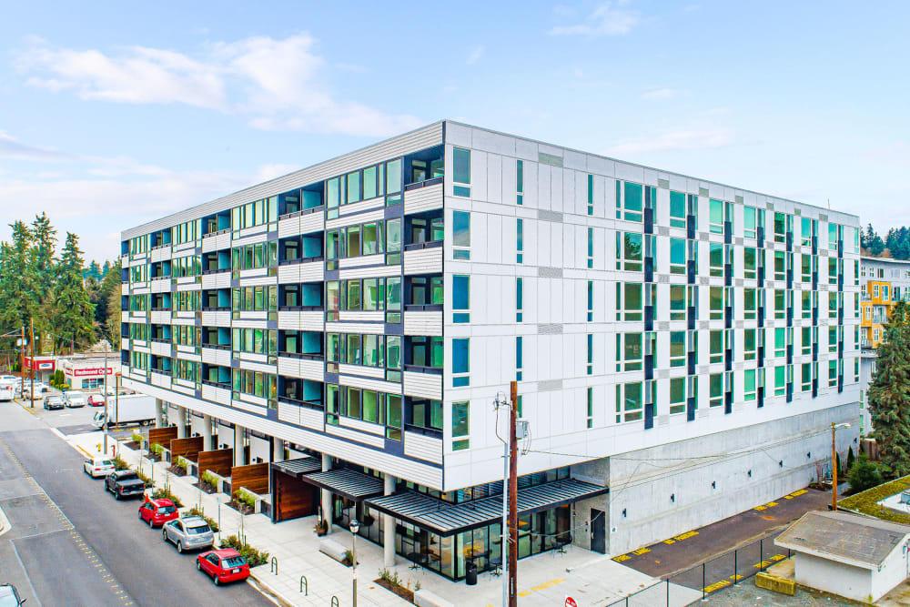 Building exterior at Blackbird in Redmond, Washington