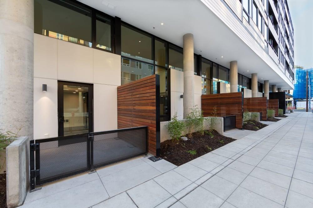 Unit balconies facing alley at Blackbird in Redmond, Washington