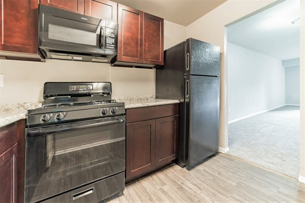 Black appliances and cherry wood cabinetry in an apartment's kitchen at Eagle Rock Apartments at Towson in Towson, Maryland