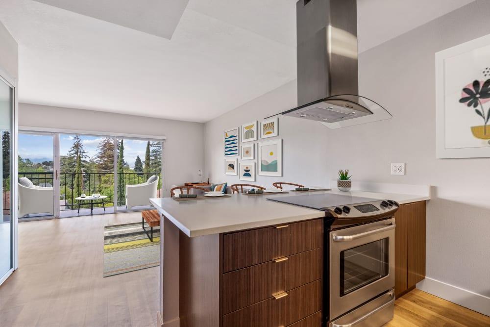 Luxury open concept kitchen at Mia in Palo Alto, California
