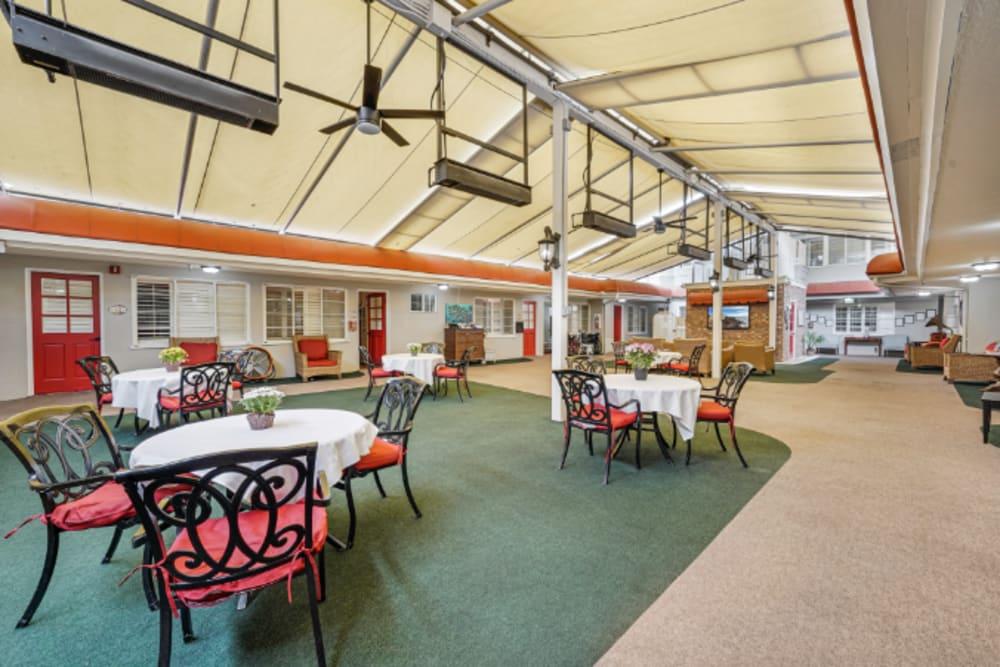 Large indoor dining room at Meridian at Ocean Villa & Bella Mar in Santa Monica, California