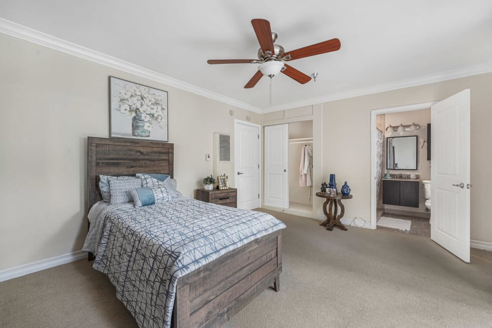 Bedroom with an attached bath at Meridian at Ocean Villa & Bella Mar in Santa Monica, California