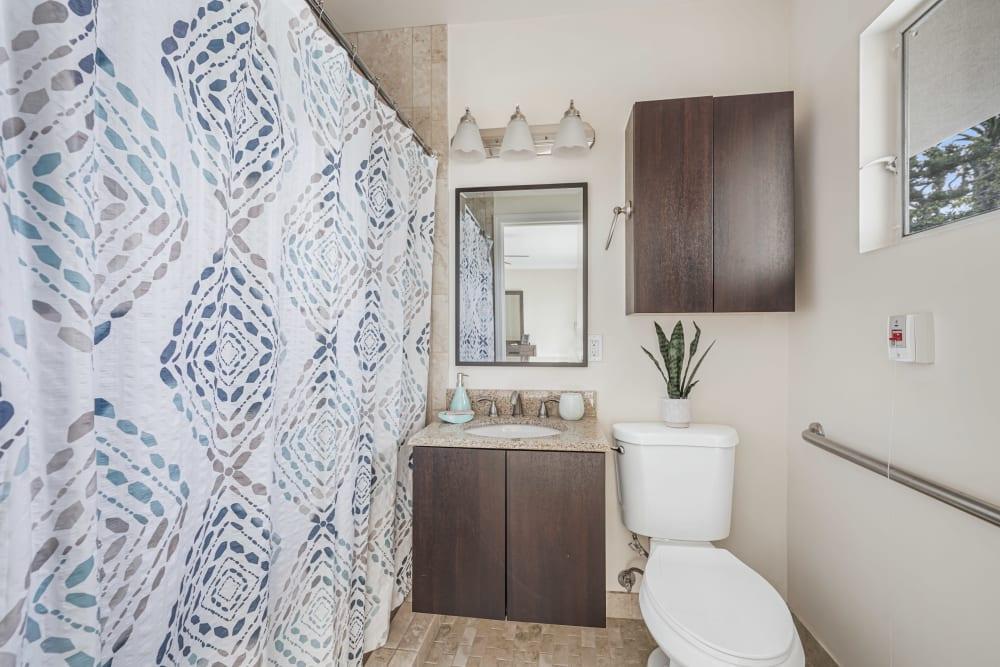Bathroom with extra storage at Meridian at Ocean Villa & Bella Mar in Santa Monica, California