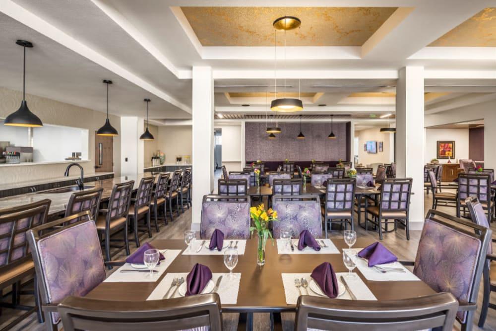 Elegant dining room at Amaran Senior Living in Albuquerque, New Mexico