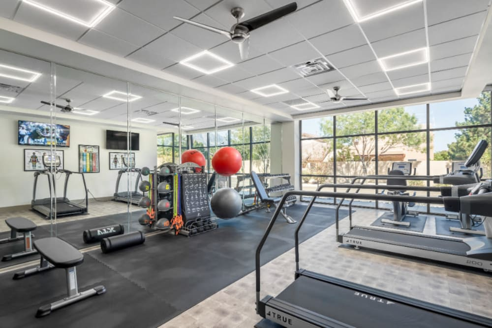 Well equipped fitness center at Amaran Senior Living in Albuquerque, New Mexico