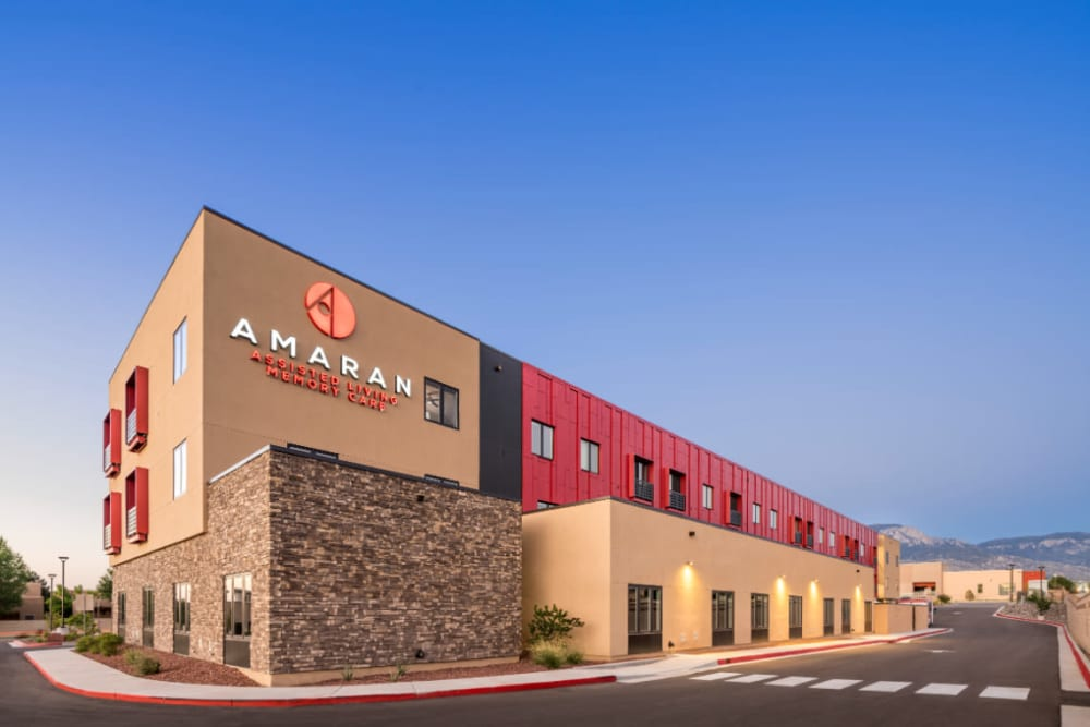 Exterior of building a large logo on the building at Amaran Senior Living in Albuquerque, New Mexico
