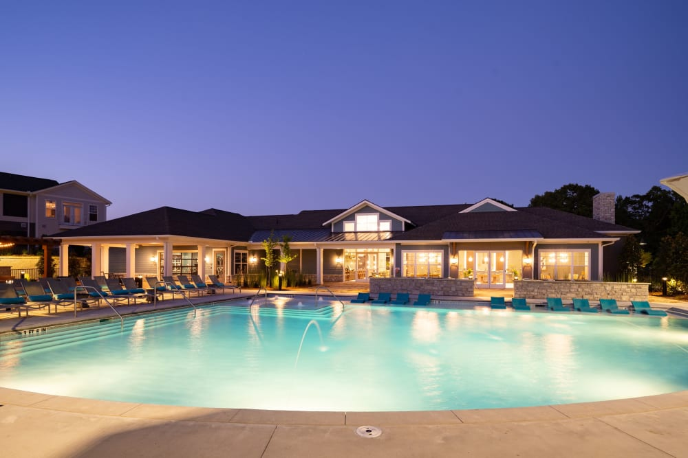 Resort-style pool at The Crest at Flowery Branch in Flowery Branch, Georgia
