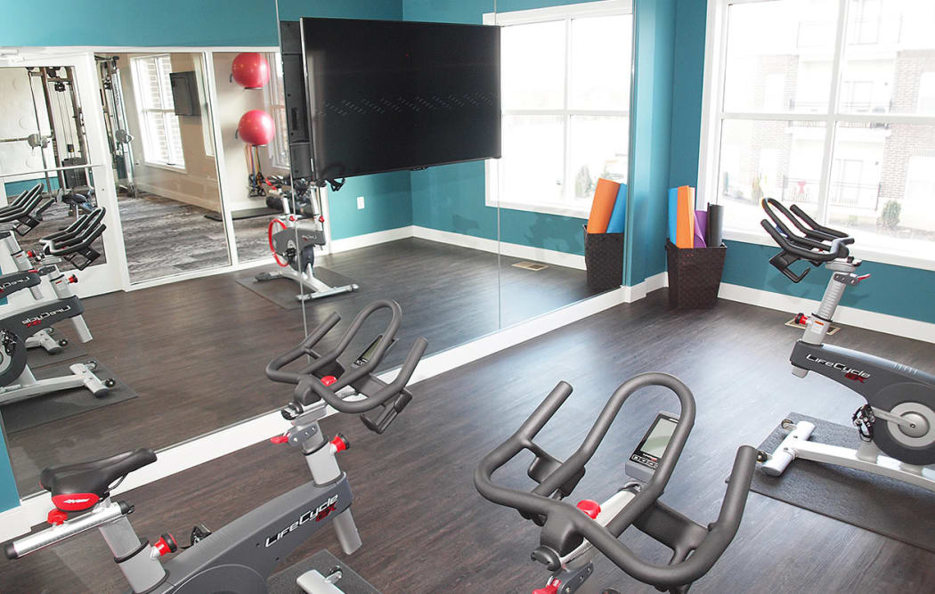 Spacious fitness center at Allure Apartments in Centerville, Ohio
