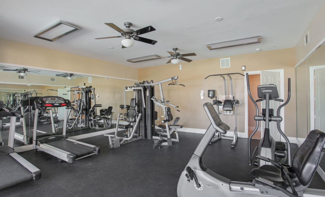 Fully equipped fitness center at Wellington Point in Atlanta, Georgia