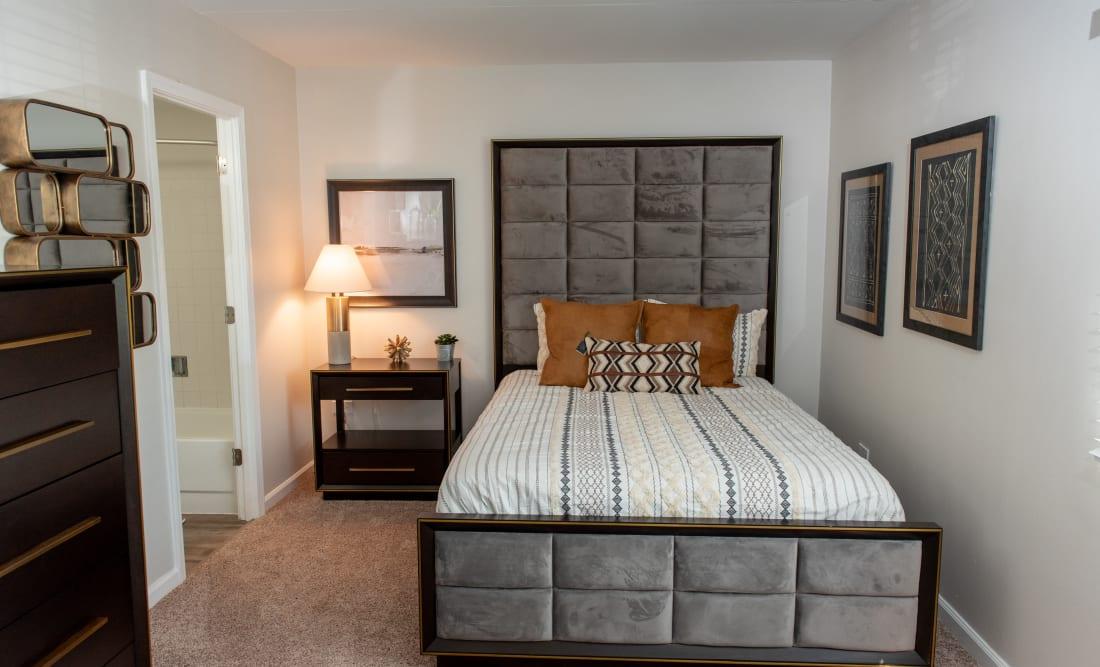 Spacious primary bedroom at Mandalane Apartments in Wheeling, Illinois