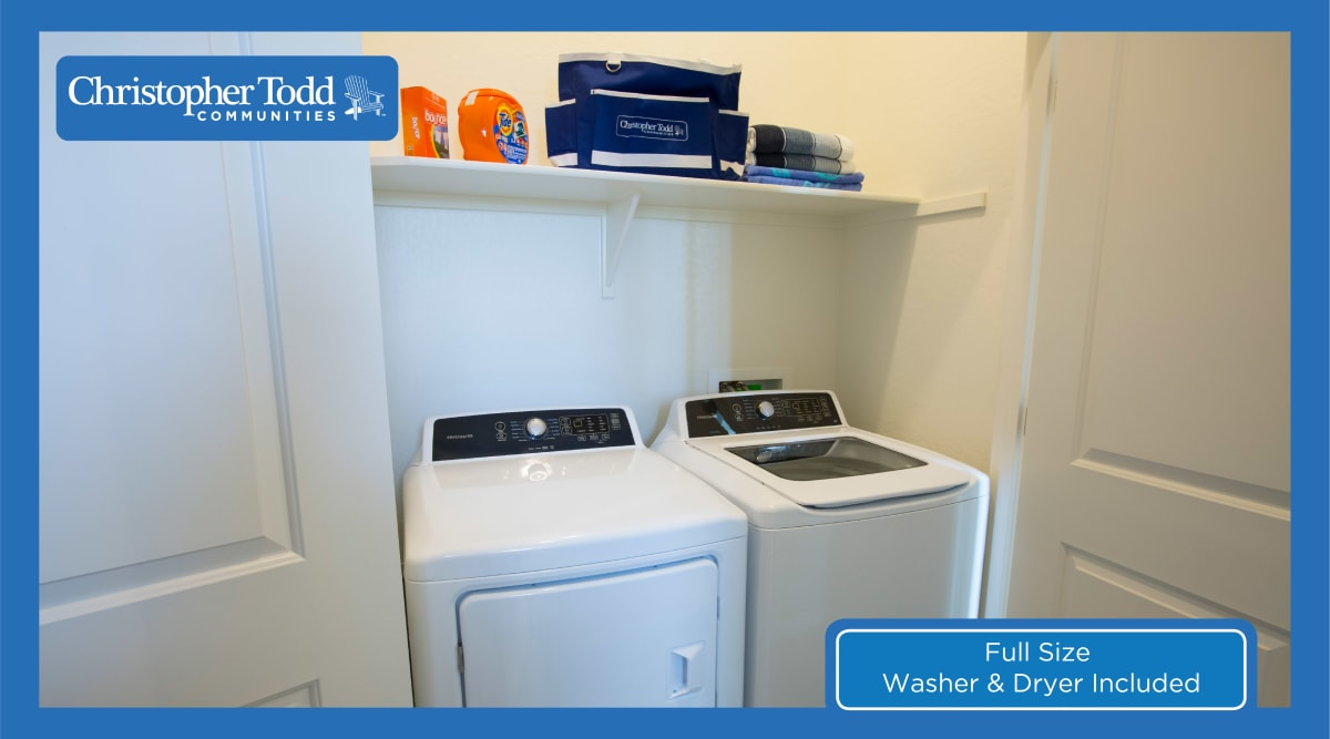 In-unit washer and dryer in a resident's home at Christopher Todd Communities On Happy Valley in Peoria, Arizona