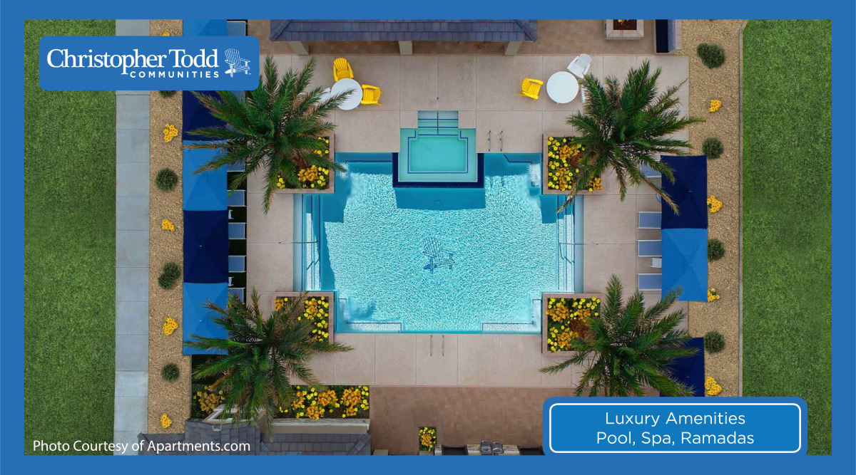 Aerial view of the pool area at Christopher Todd Communities On Happy Valley in Peoria, Arizona