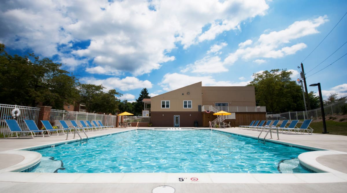 Sparkling pool at The Crest Apartments in Salem, Virginia