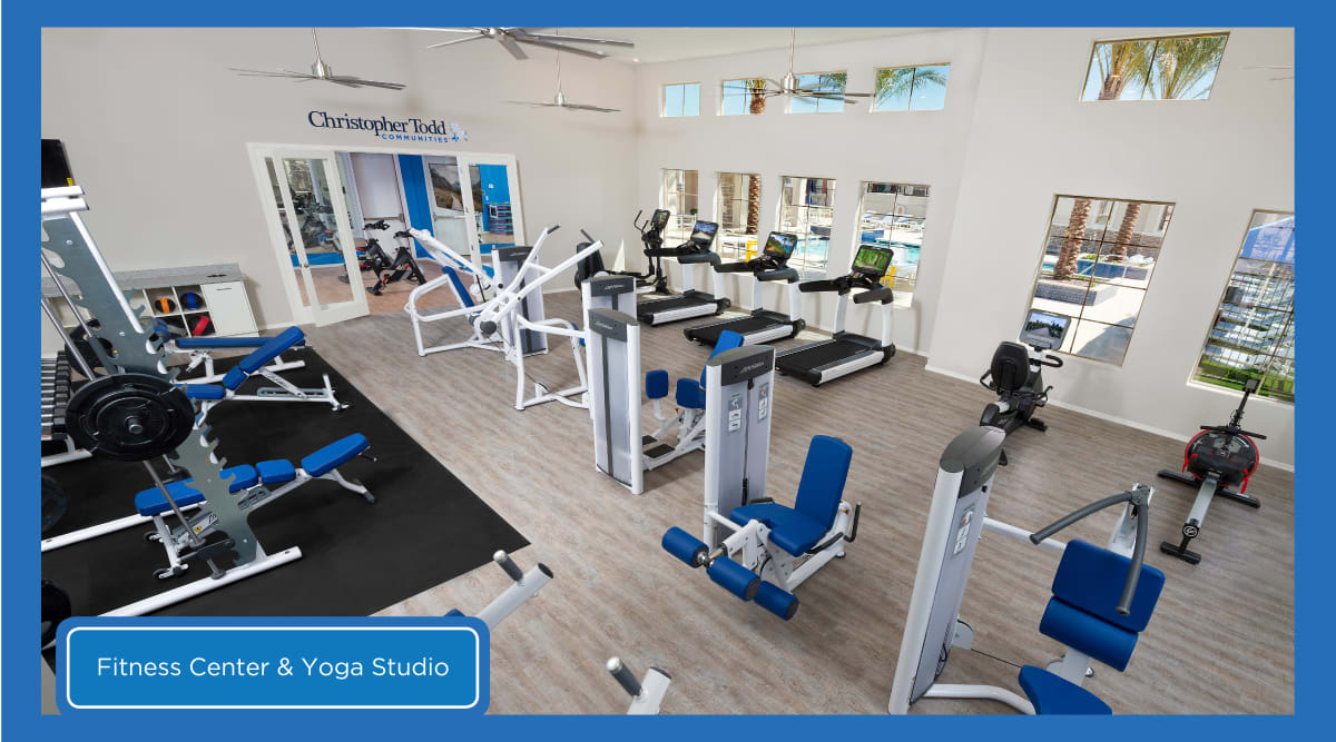 Fitness center and yoga studio at Christopher Todd Communities on Mountain View in Surprise, Arizona