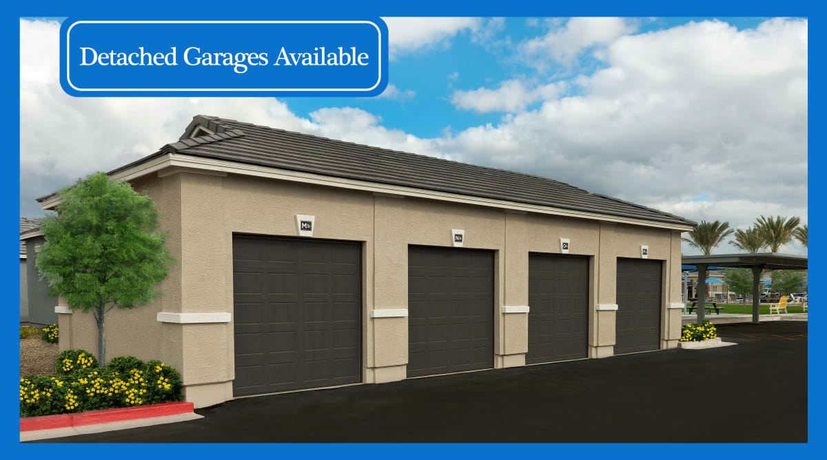 Detached garages available at Christopher Todd Communities On Mountain View in Surprise, Arizona