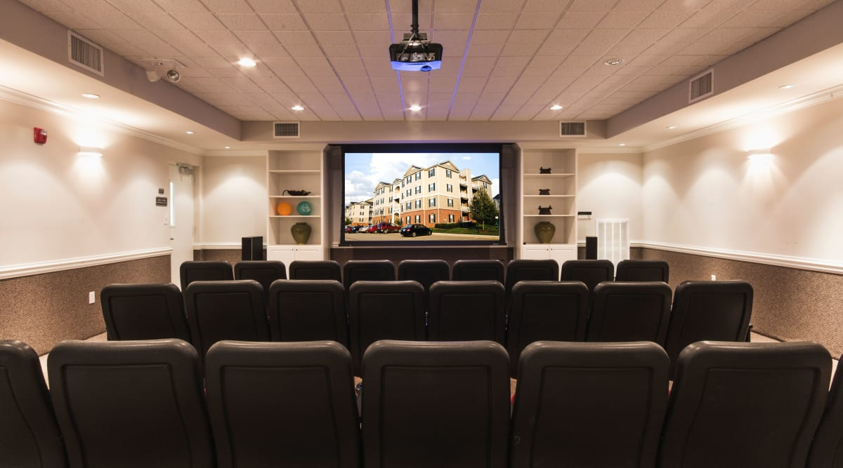 Movie room at Sunchase at Longwood and private balconies in Farmville, Virginia