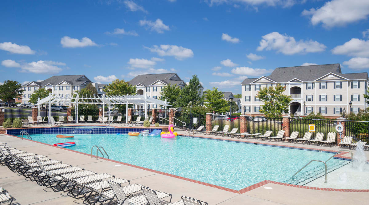 Sparkling pool of Sunchase at Longwood in Farmville, Virginia