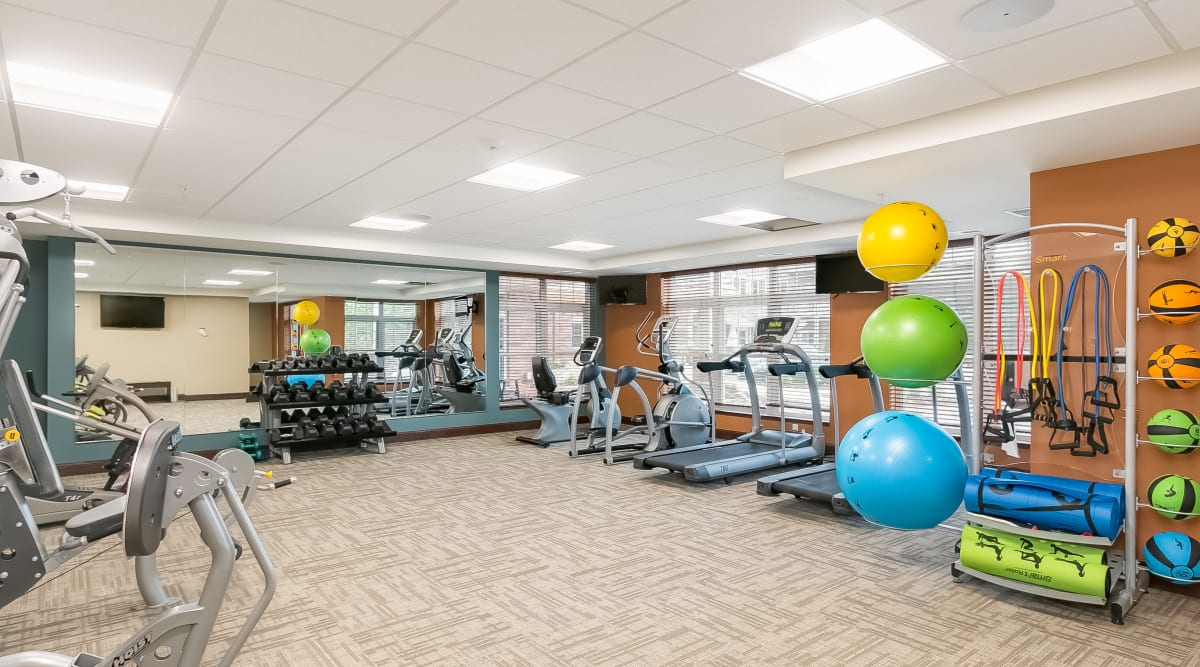 Yoga and fitness center at Applewood Pointe of Prior Lake in Prior Lake, Minnesota