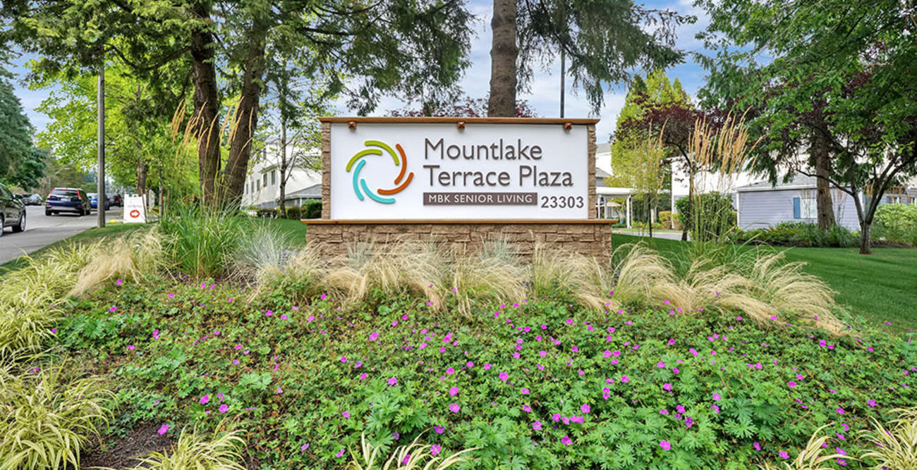 Welcome sign at Mountlake Terrace Plaza in Mountlake Terrace, Washington