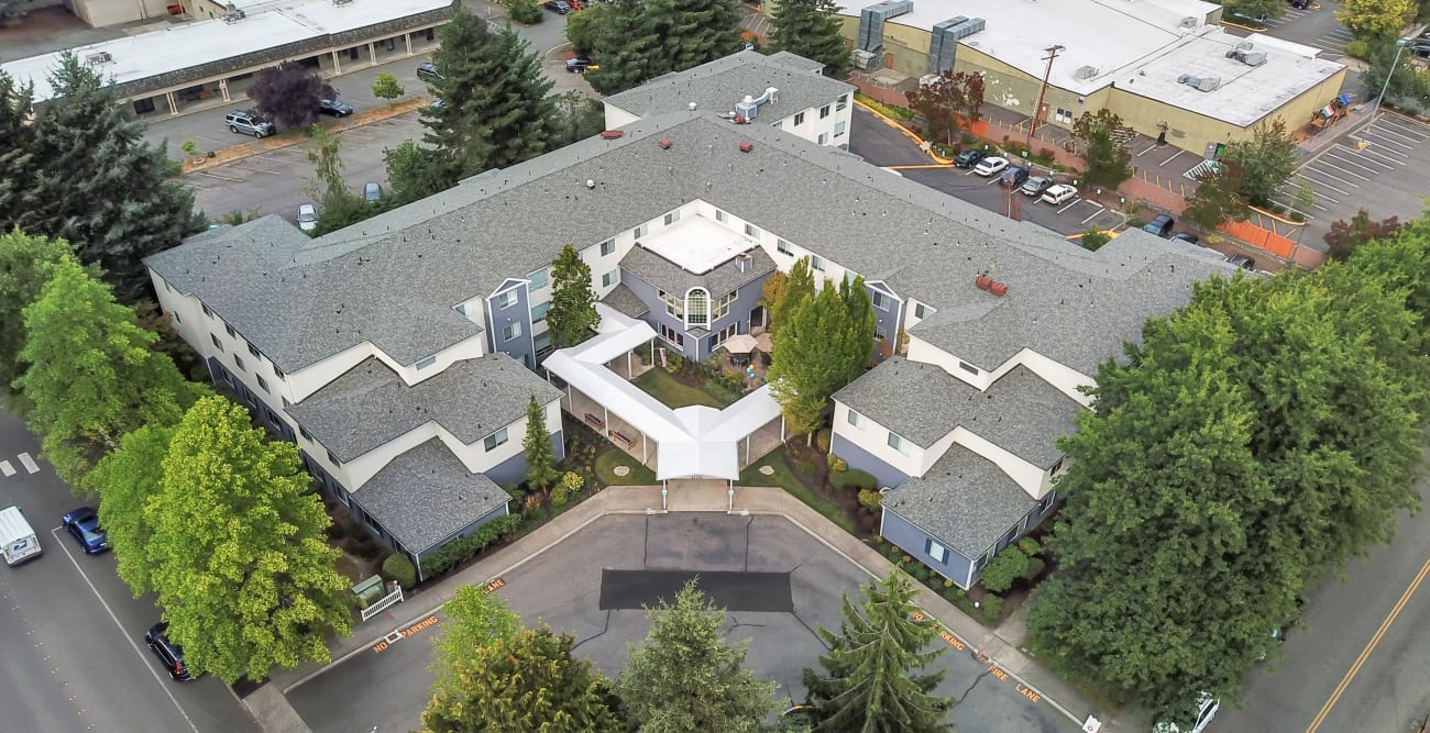 Aerial view of Mountlake Terrace Plaza in Mountlake Terrace, Washington