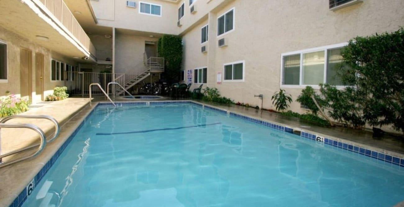 Large swimming pool at The Esplanade in Lake Balboa, California