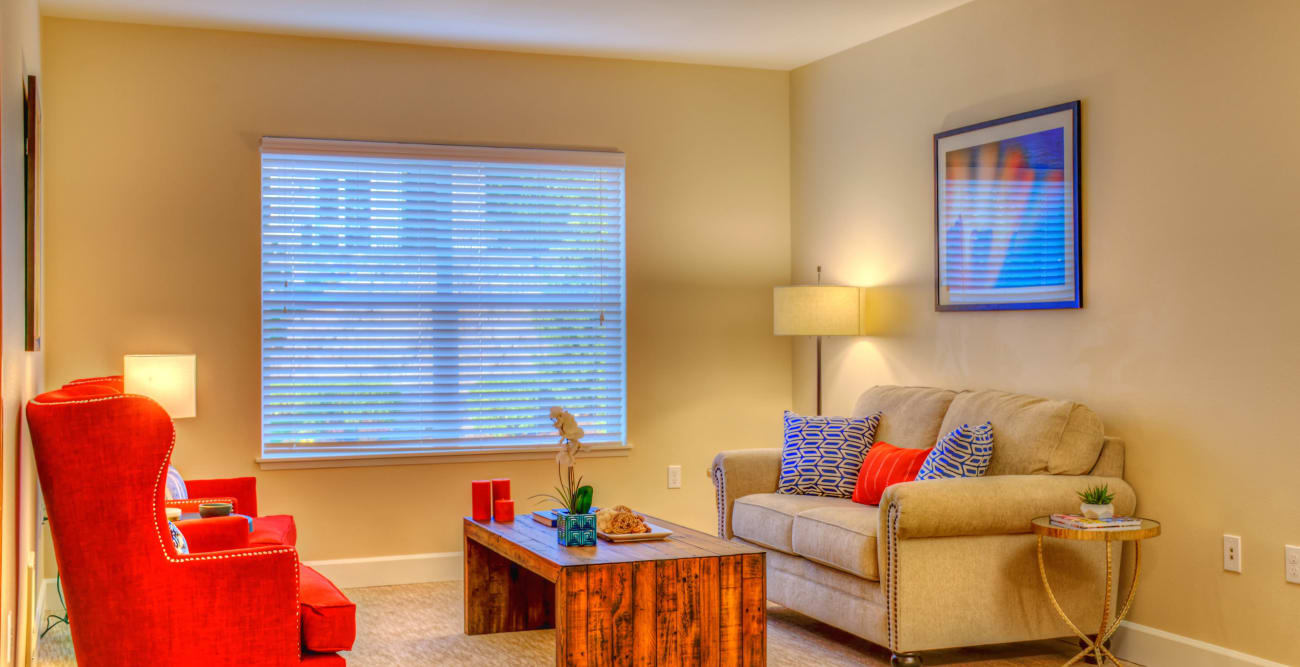 Living area at The Creekside in Woodinville, Washington