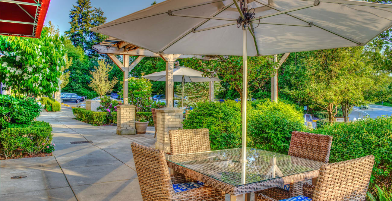 Outside area at The Creekside in Woodinville, Washington