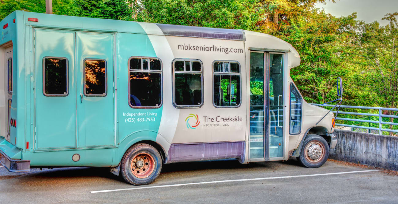 The bus at The Creekside in Woodinville, Washington