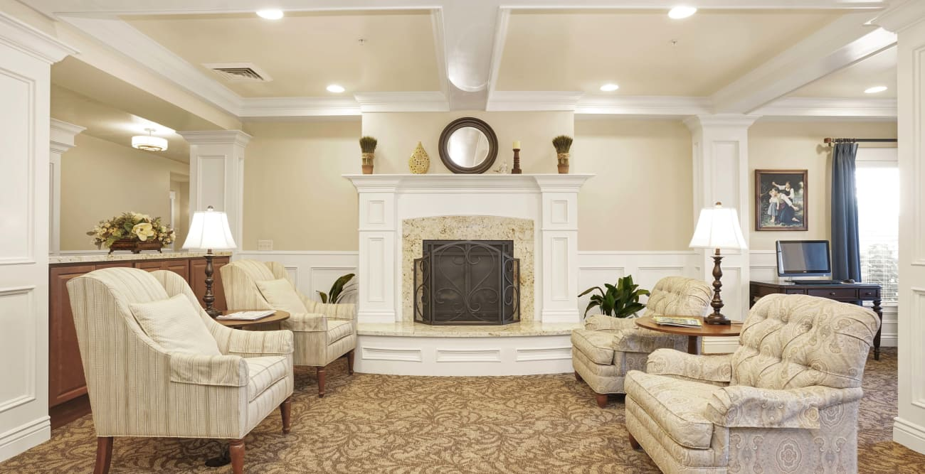 Common area with fireplace at Highland Glen in Highland, Utah