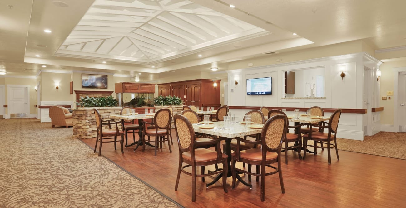 Large dining room at Highland Glen in Highland, Utah