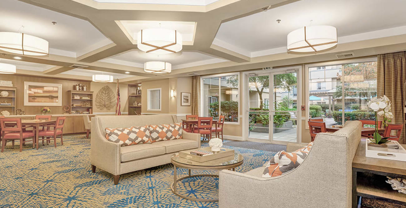 Lobby area at Island House Assisted Living in Mercer Island, Washington