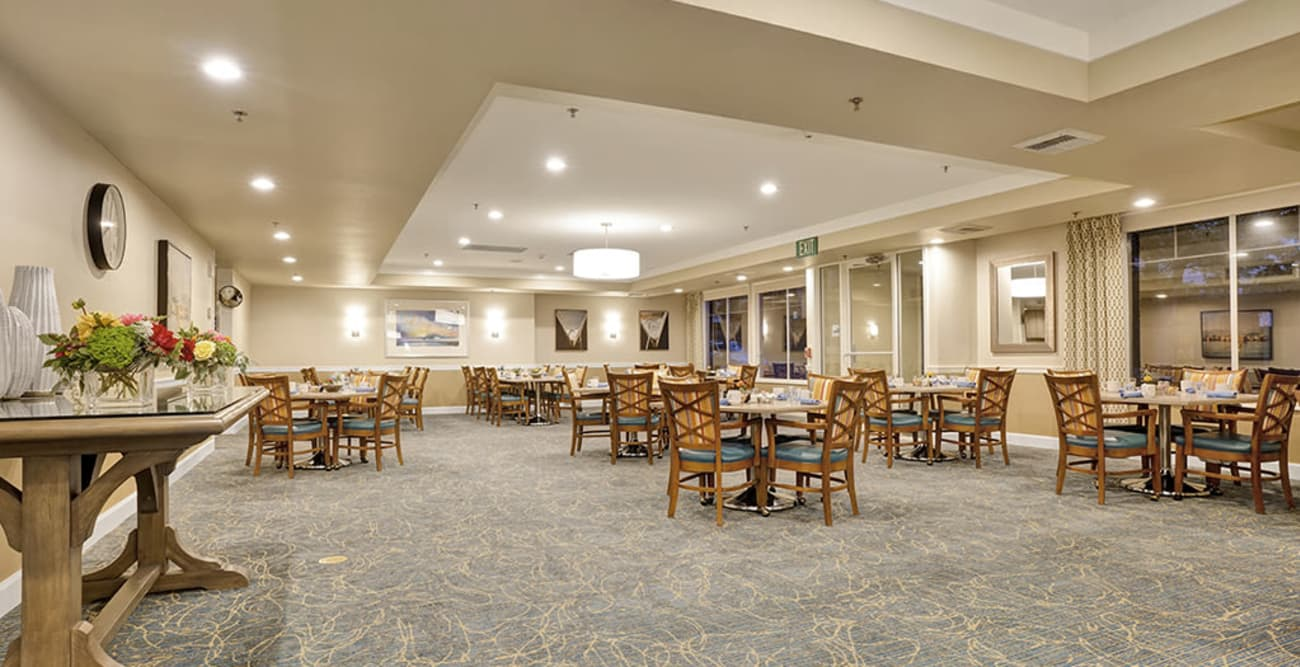Dining tables at Island House Assisted Living in Mercer Island, Washington