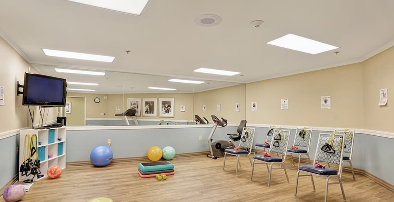 Gym at Island House Assisted Living in Mercer Island, Washington
