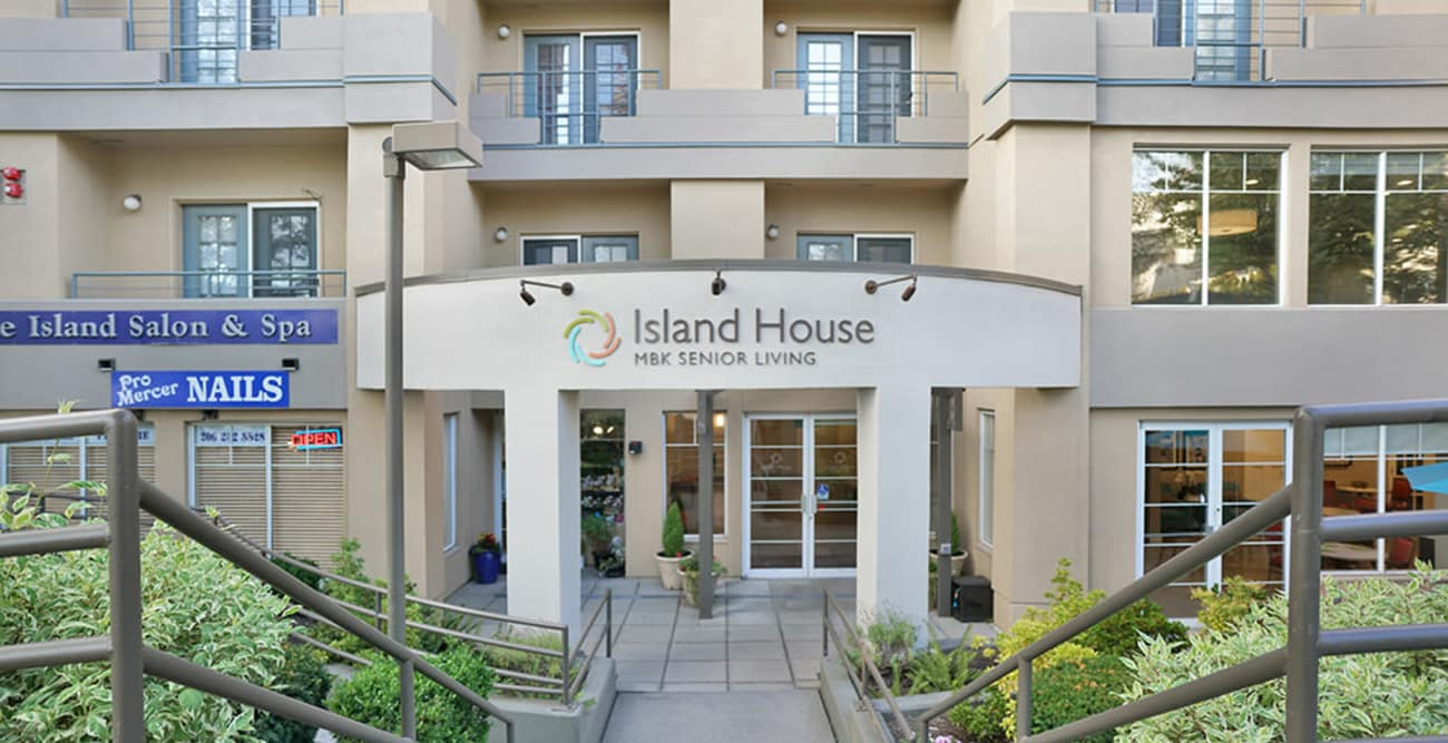 Front of building at Island House Assisted Living in Mercer Island, Washington