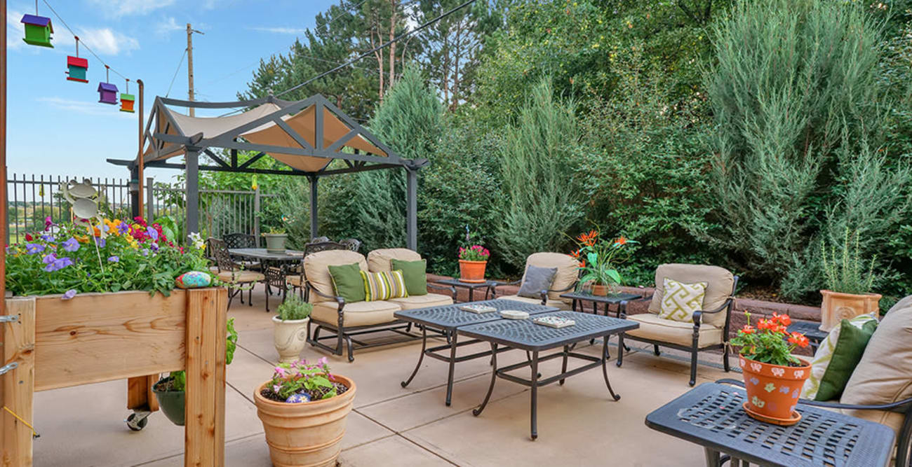 Outdoor party area at Hillcrest of Loveland in Loveland, Colorado