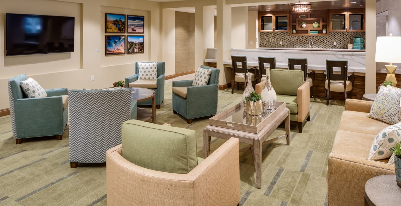 Tv room for our residents at The Montera in La Mesa, California