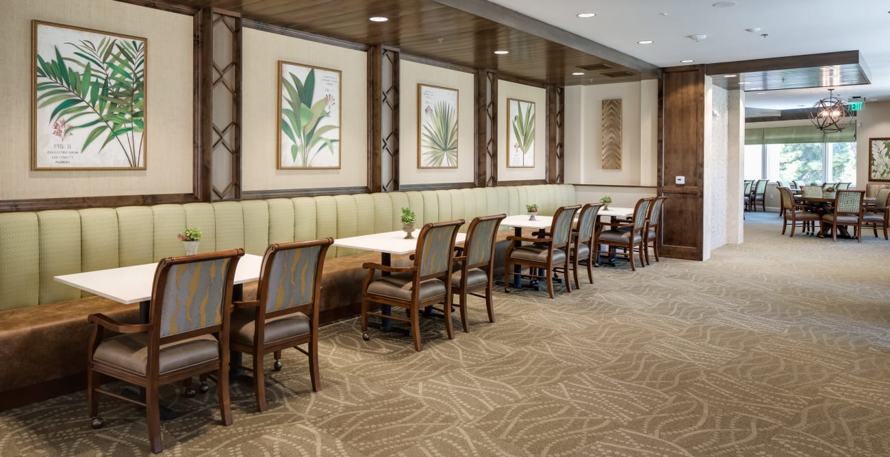 Dining tables at The Montera in La Mesa, California