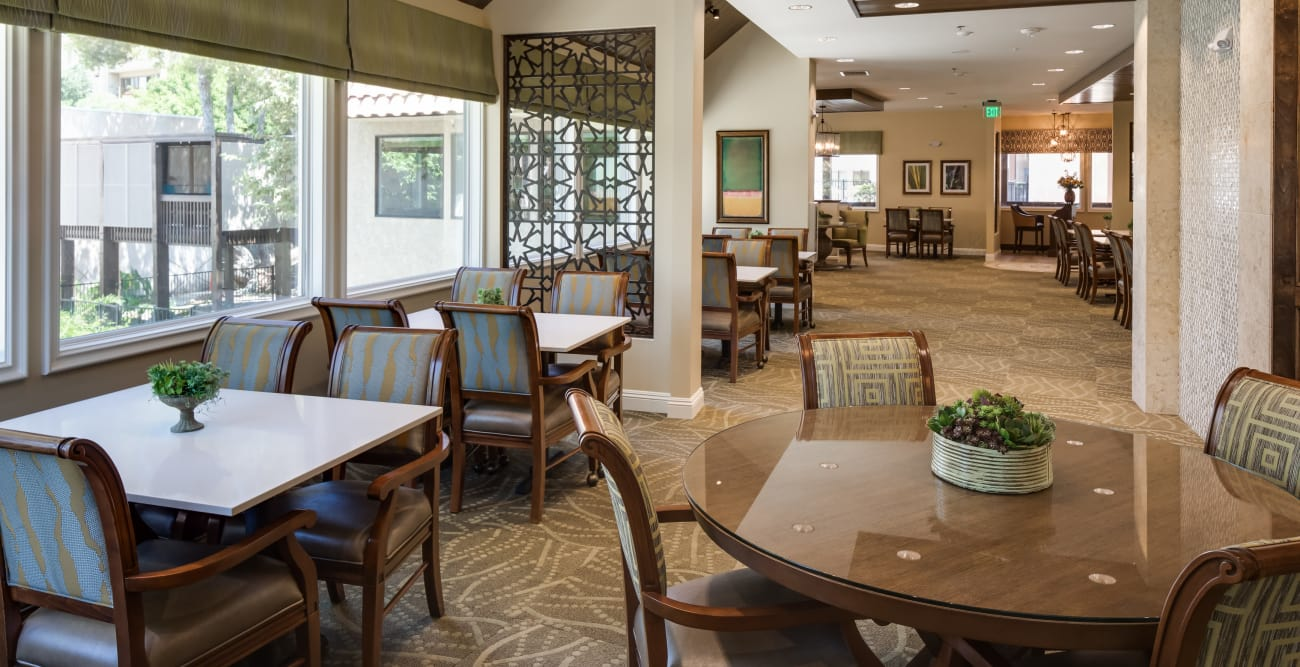 Dining tables in a spacious room at The Montera in La Mesa, California
